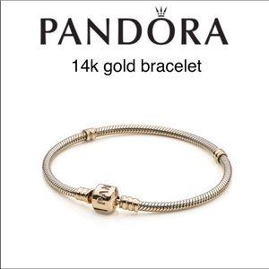 Pandora 14k goldbraceletwith iconic clasp